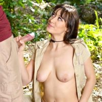 Meko Lily hiking busty slut fucks in the woods outdoors